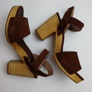Madewell Jo Retro Brown Suede Wood Heel Sandal 8